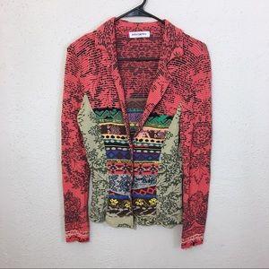 Aldomartins jacket blazer size 8 multicolored knit